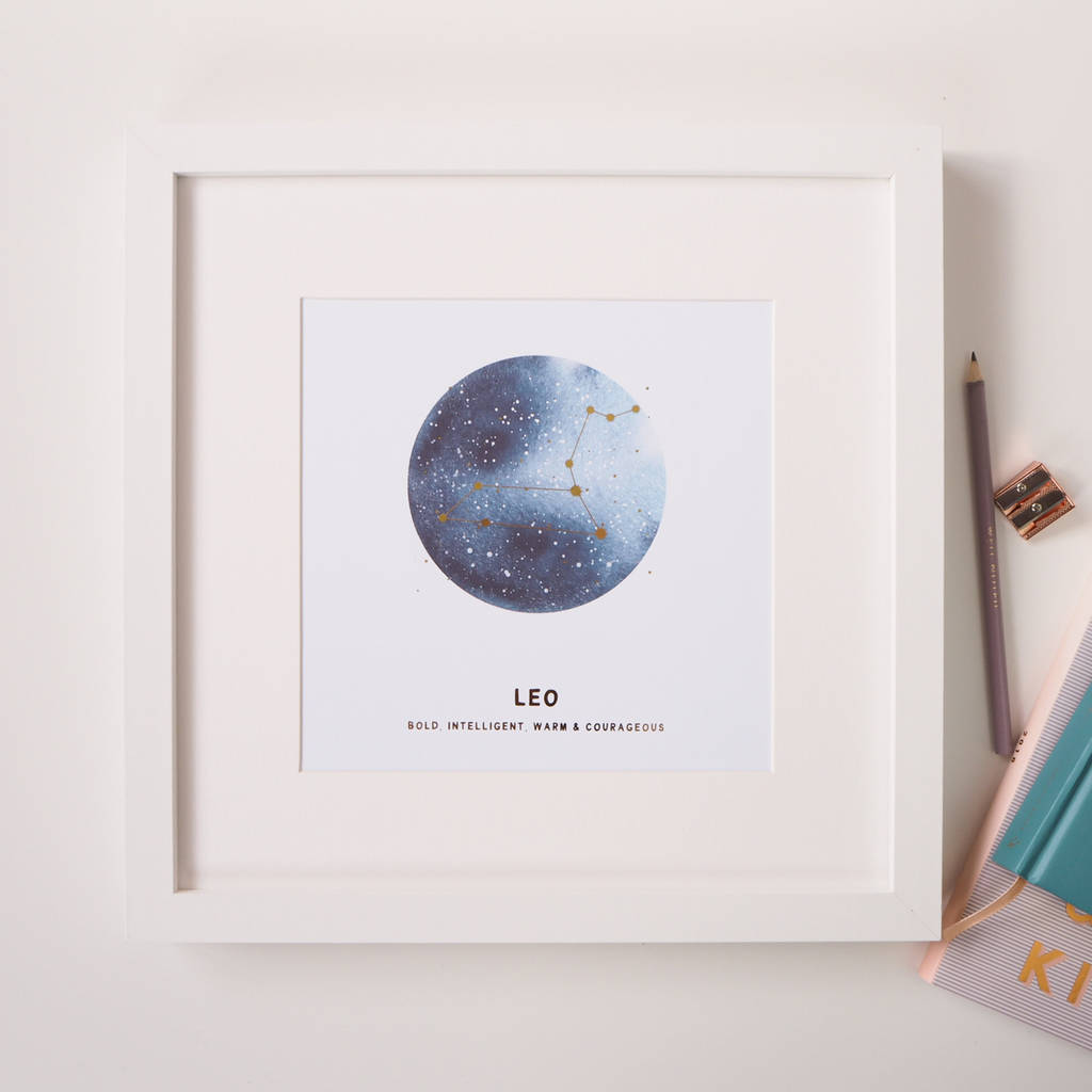 personalised star sign constellation foil print by lily rose co