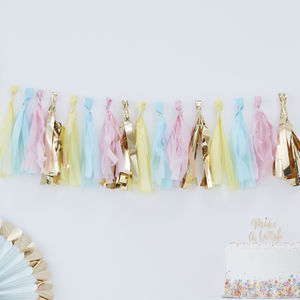 Pastel And Gold Tassel Garland Party Bunting