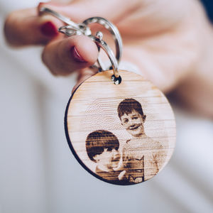 Personalised Photo Wooden Keyring - mens