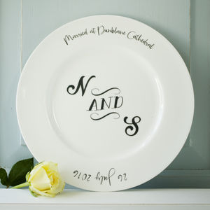 Monogram Wedding Or Anniversary Plate - home wedding gifts