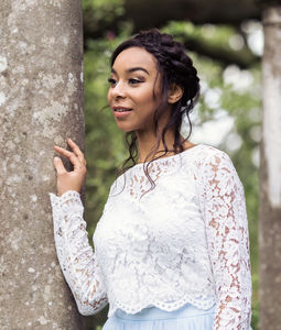 Bridal Long Sleeve Lace Overlay Jacket