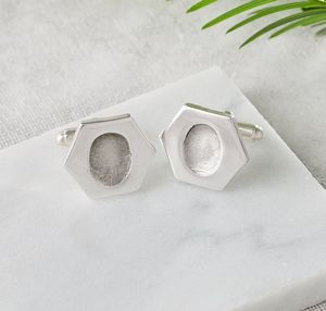 Personalised Silver Hexagonal Fingerprint Cufflinks - gifts for fathers