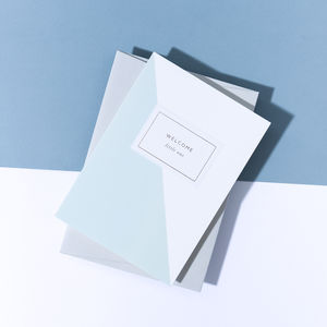 'Welcome Little One' Baby Boy Card, Pale Grey Envelope