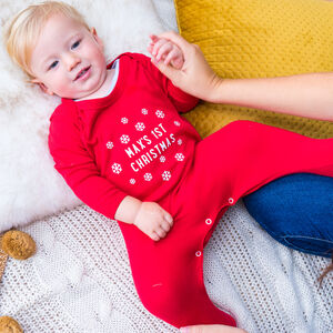 Personalised Snowflake First Christmas Sleepsuit