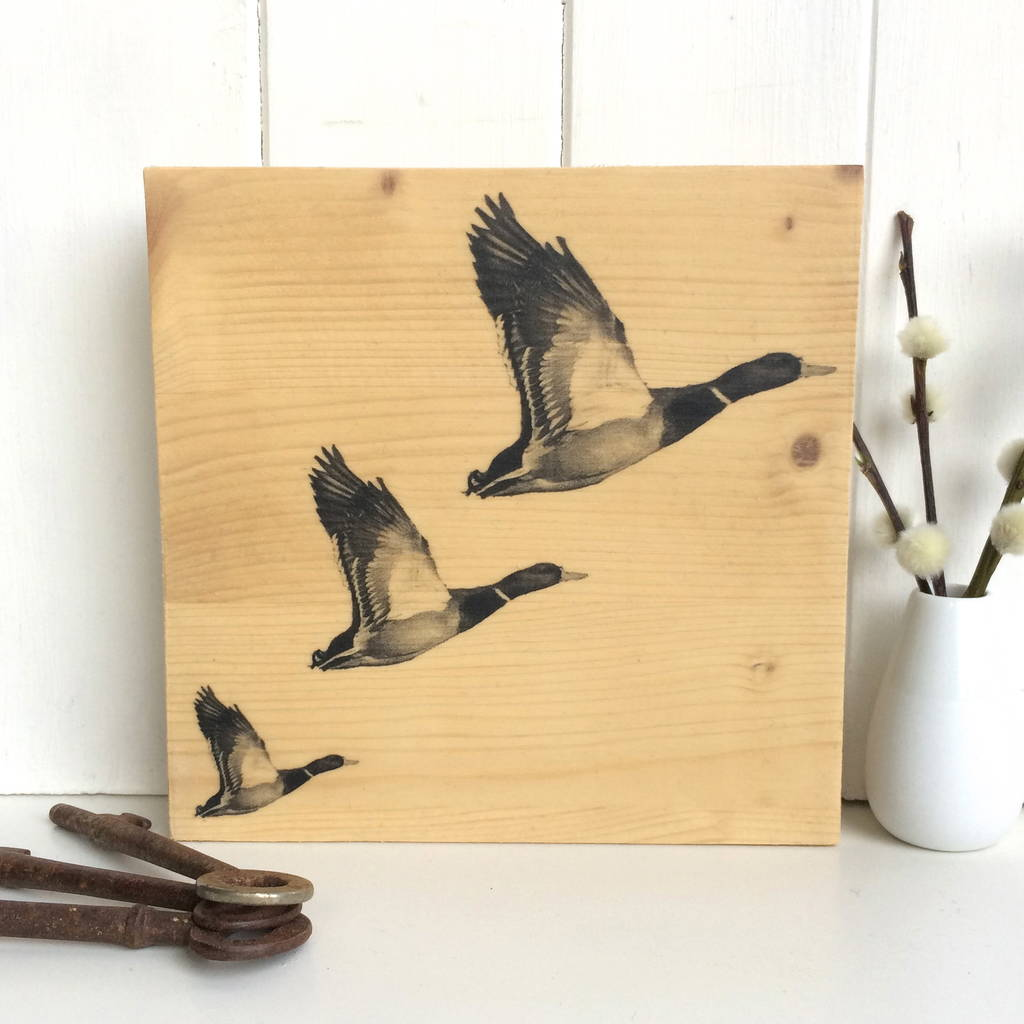 flying ducks printed on timber by northern logic ...