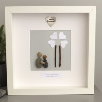 Personalised Engagement Pebble People Picture Artwork