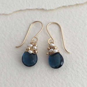 Navy Quartz Woven Pearl Drops - earrings