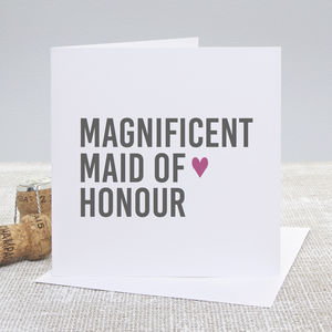 'Magnificent Maid Of Honour' Wedding Thank You Card