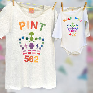 Rainbow Pint And Half Pint T Shirt Set - father & child sets