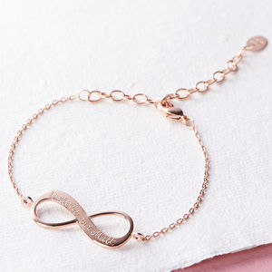Personalised Infinity Chain Bracelet - rose gold jewellery