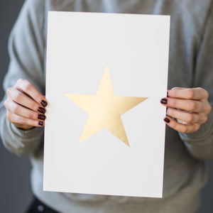 'White And Gold Foil Star' Small Print - new in prints & art
