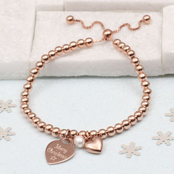 Christmas Rose Gold Ball Personalised Slider Bracelet