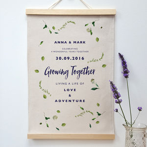 Personalised Cotton And Linen Anniversary Leaf Print