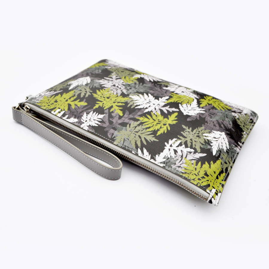 All Over Leaf Leather Clutch Bag