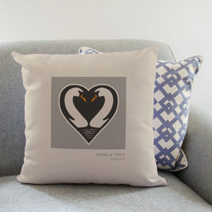 Personalised Swans Love Cushion - 2nd anniversary: cotton