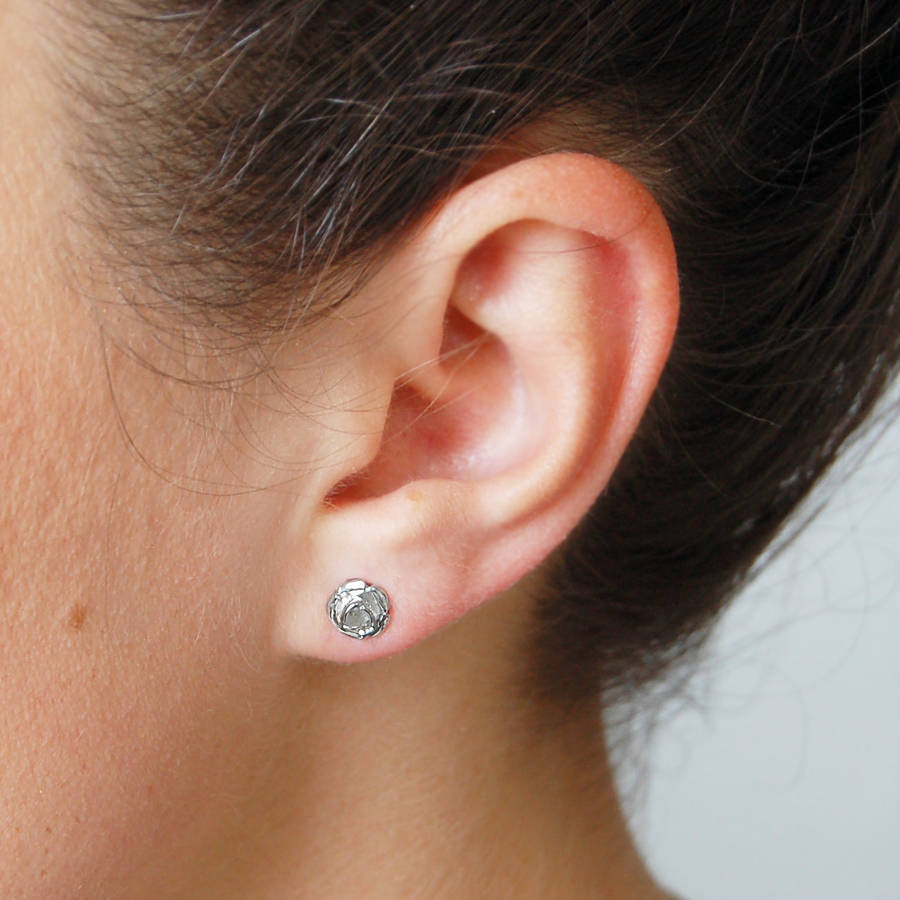 stud real earrings rose pierced