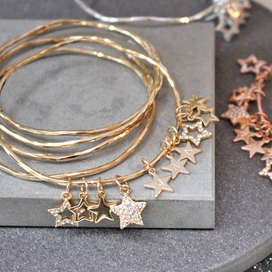 personalised diamante star charm bangles by jamie london ...