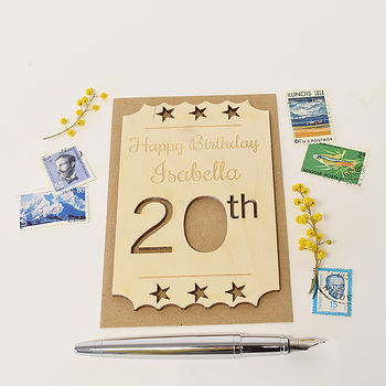 Personalised 20th Birthday Wooden Card
