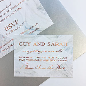 Grey Marble And Copper Wedding Save The Dates