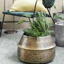 Rattan Effect Brass Planter