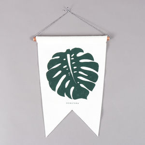 Monstera Felt Flag - textile art