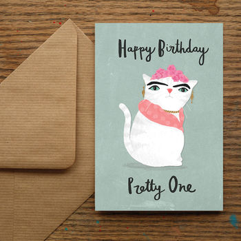 'Happy Birthday Pretty One' Cat Birthday Card