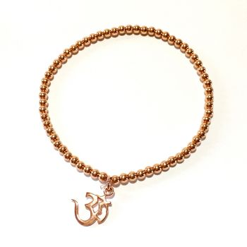 Sterling Silver And Rose Gold Ohm Symbol Bracelet