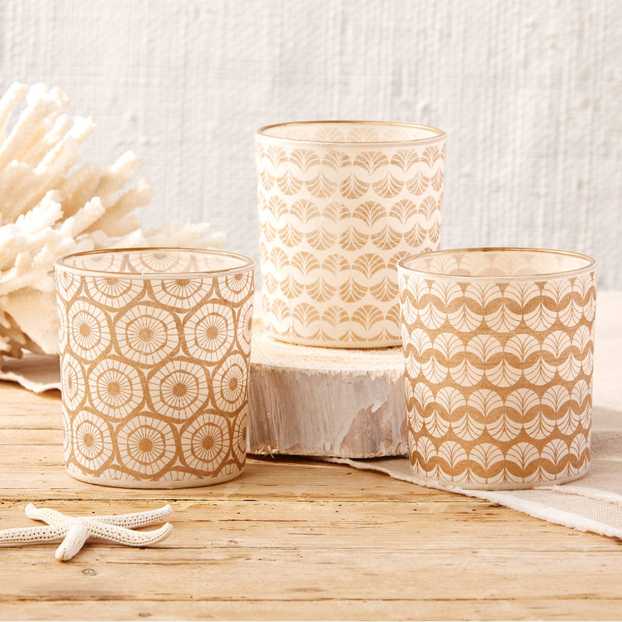 Rice Paper Wrapped Votive With Gold Rim, Set Of Three