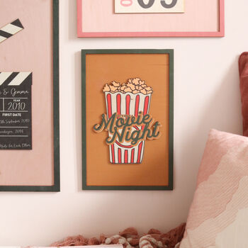 'Movie Night' Illustrated Wooden Print