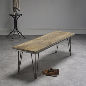 Solid Maple Bench With Industrial Steel Legs - furniture