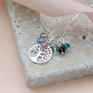 Sterling Silver Family Tree Birthstone Charm Necklace - july birthstone