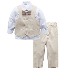 Ring Bearer Boy Beige Linen Blend Wedding Suit