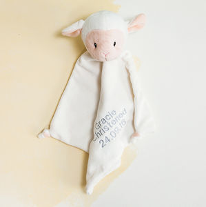 Personalised Christening Lamb Baby Comforter - sleeping