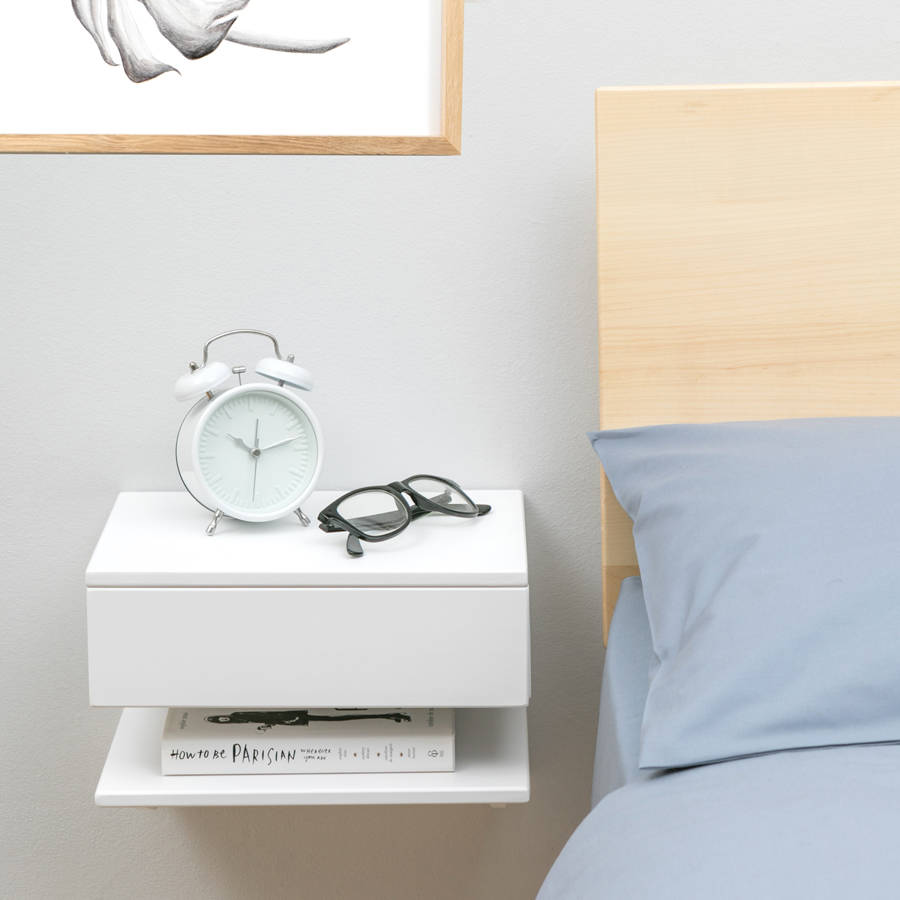 floating bedside table with drawer and shelf by urbansize. Black Bedroom Furniture Sets. Home Design Ideas