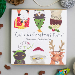 Christmas Cards Packs Cats In Hats Assortment Sets - cards & wrap