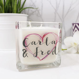 Personalised Inky Heart Square Scented Candle - candles & home fragrance