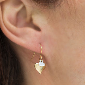 Gold And Silver Double Heart Drop Earrings