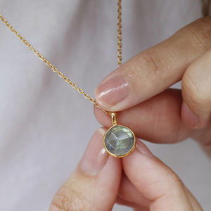 Labradorite Pendant Necklace 18ct Gold - view all new