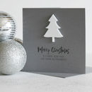 Personalised Monochrome Merry Christmas Tree Card