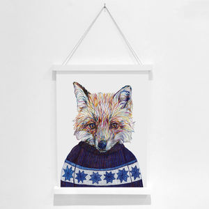 Kevin The Fox Pencil Illustration Fine Art Print