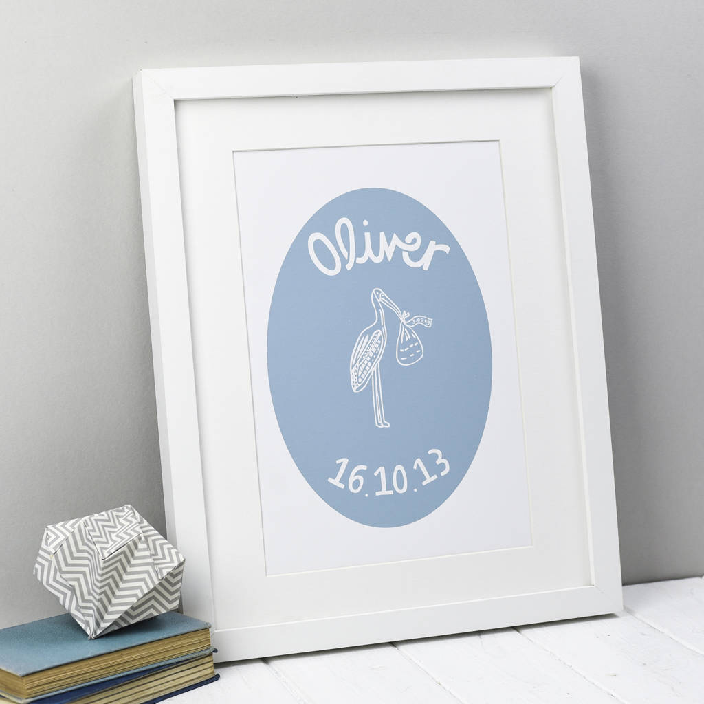Personalised Stork Print For New Baby Boy
