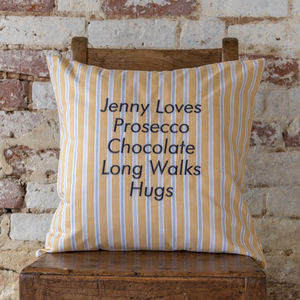 Personalised Embroidered Cushion Ledbury Ochre Grey - bedroom