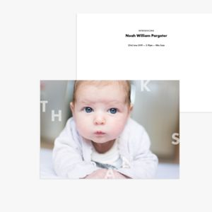 20 Block Thanks Baby Photo Birth Announcement Cards