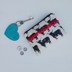 Highland Cow Purse With Pink Pom Poms - purses
