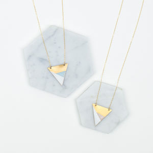 Metal Three Colour Triangle Necklace - geometric shapes