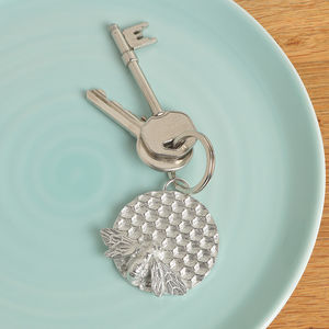 Bee On Honeycomb Keyring