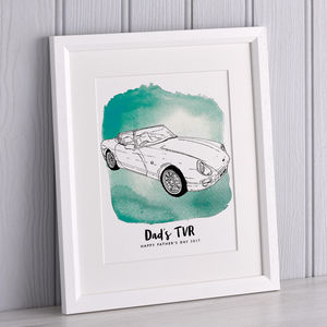 Watercolour Car Line Drawing - father's day gifts