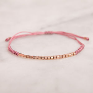 Rose Gold Pink Friendship Bracelet - children's jewellery