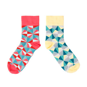 Womens Colourful Geometric Ankle Socks - socks