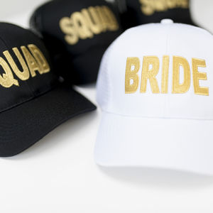 Bride And Squad Baseball Caps | Metallic Gold Detail - occasion